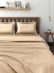 SWAYAM Beige Co-ordinated Bedding Set with Reversible Quilt (Comforter)