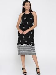 Global Desi Women Black Printed Maxi Dress