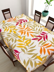 "SWAYAM White & Red Leaf Print Rectangular 90"" x 60"" Cotton Table Cover"