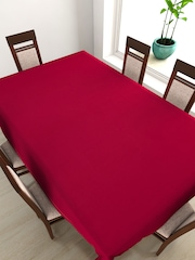 "SWAYAM Red Rectangular 90"" X 60"" Cotton Table Cloth"