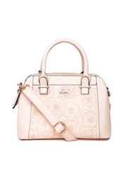 Lavie Peach-Coloured Floral Print Handbag with Sling Strap