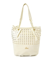 Lavie Cream-Coloured Shoulder Bag with Metallic Studs