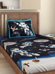 BOMBAY DYEING Kids Navy Cotton 144 TC 2 Single Bedsheets with 2 Pillow Covers