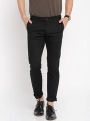 Indian Terrain Men Black Brooklyn Fit Flat-Front Casual Trousers