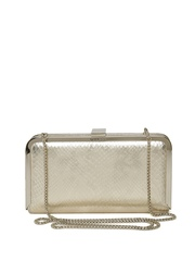 GUESS Muted Gold-Toned Snakeskin Textured Clutch with Chain Strap