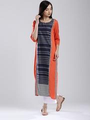 W Women Orange & Navy Woven Design Kurta