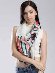 W White Printed Scarf