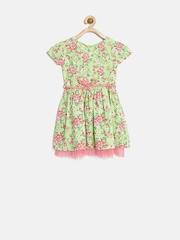 Palm Tree Girls Green Floral Print Fit & Flare Dress