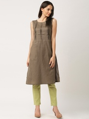 IndusDiva Khadi Originals Brown & Green Clothing Set