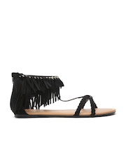 Qupid Women Black Fringe Solid Open-Toed Flats