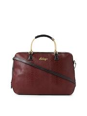 Hidesign Red Textured Leather Handbag