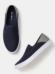 Mast & Harbour Men Navy & Grey Colourblock Slip-On Sneakers