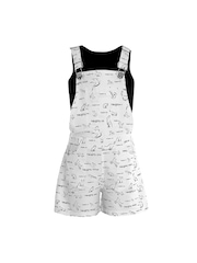 naughty ninos Girls White & Black Printed Dungarees with T-shirt