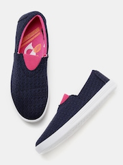 Kook N Keech Women Navy Blue Woven Slip-On Sneakers
