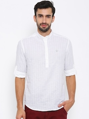 Numero Uno Men White Linen Self-Checked Casual Shirt