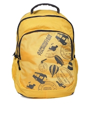 AMERICAN TOURISTER Unisex Yellow Printed Backpack