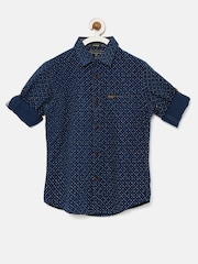 Indian Terrain Boys Navy Regular Fit Printed Casual Shirt
