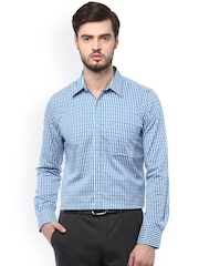 Turtle Men Blue Slim Fit Checked Formal Shirt