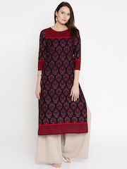 Vishudh Women Navy Printed Straight Kurta