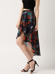 all about you from Deepika Padukone Navy Floral Print Layered High-Low Skirt