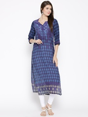 Biba Women Navy Blue & Purple Printed Kurta