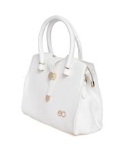 E2O White Textured Handbag with Sling Strap