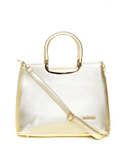 Lisa Haydon for Lino Perros Gold-Toned Textured Handbag with Sling Strap