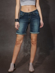 Roadster Women Blue Washed Regular Fit Denim Shorts