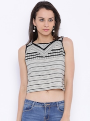 109F Women Off-White & Black Polyester Printed Crop Top