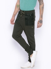 Breakbounce Olive Green Tapered Fit Track Pants