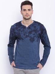 Breakbounce Navy Printed Henley T-shirt