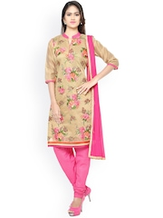 Satrani Beige & Pink Embroidered Unstitched Dress Material