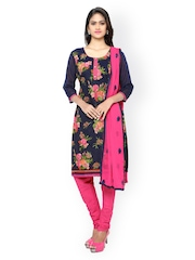 Satrani Navy & Pink Embroidered Chanderi Unstitched Dress Material