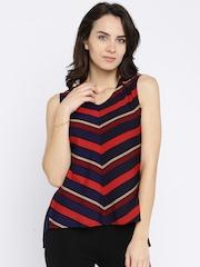 Moda Rapido Women Navy & Red Striped Regular Top