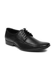 Arrow Men Black Alston Square-Toed Genuine Leather Derby Shoes