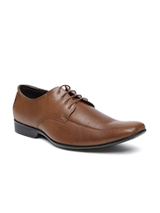 Arrow Men Brown Alston Square-Toed Genuine Leather Derby Shoes
