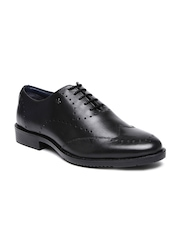 Arrow Men Black Luke Genuine Leather Brogue Shoes