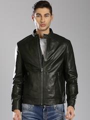 Tommy Hilfiger Olive Green Leather Jacket