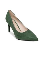 Vero Moda Women Green Pointy-Toed Suede Pumps
