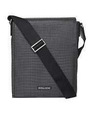 Police Men Black Textured Genuine Leather Messenger Bag