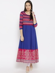 Moda Rapido Women Blue & Pink Printed Anarkali Kurta