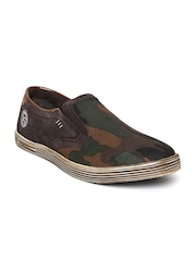 Numero Uno Men Brown Camouflage Print Slip-On Sneakers