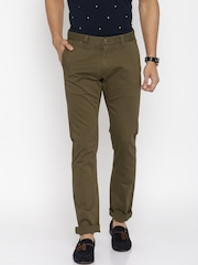 U.S. Polo Assn. Men Olive Green Solid Slim Fit Chinos