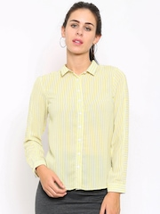 Allen Solly Woman Yellow Regular Fit Striped Formal Shirt