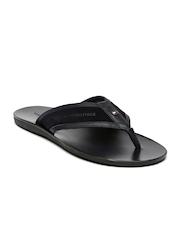 Tommy Hilfiger Men Black Leather Sandals