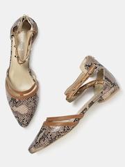 DressBerry Women Brown Snakeskin Patterned Flat Shoes
