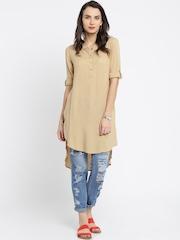 Anouk Women Khaki Solid Straight Kurta