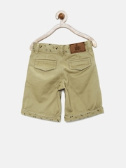 UFO Boys Khaki Printed Shorts