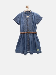 UFO Girls Blue Denim Shirt Dress