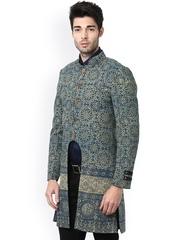 FAHD KHATRI Blue Hand Block Print Tailored Jacket